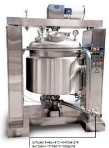 Реактор РСДП-500 ВК для производства мягких  лекарственных форм с вынесенным из корпуса  диспергатором и контуром циркуляции продукта